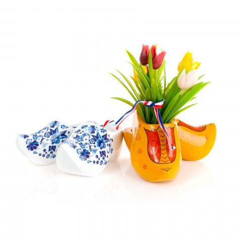 Dutch Cultural Symbols Shoes and Tulips