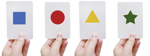 Cards with Colored Shapes on Them