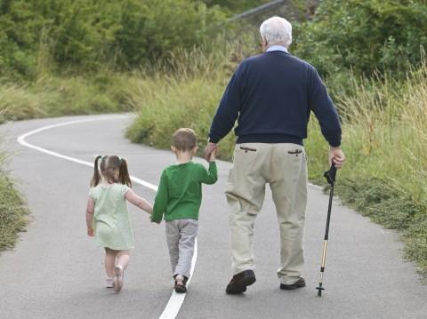 Grandfather Walking with Grandchildren