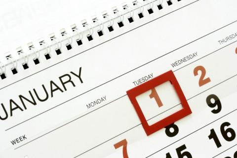 Calendar with January 1st Highlighted