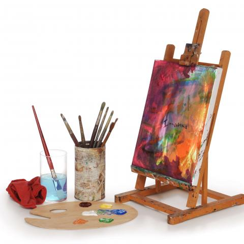 Canvas with Paint, Paint Brushes and Palette